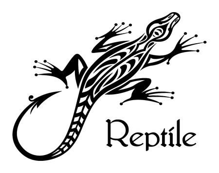 Black lizard silhouette in tribal style for tattoo or mascot design Illustration