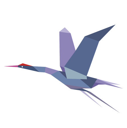 Elegant origami flying crane or heron in shades of blue with outstretched wings, isolated on white background