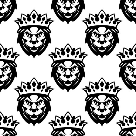 Seamless pattern of the head of a Royal lion wearing a crown in a repeat motif suitable for heraldry design Vector