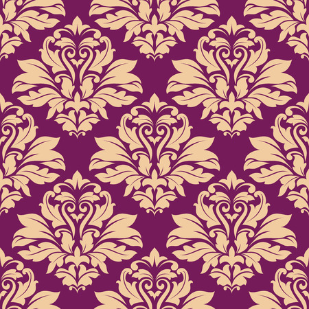 Purple and beige seamless floral pattern for wallpaper, textile or background design Vector