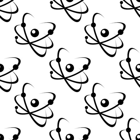 nuclear power: Science or educational seamless pattern with a black and white repeat motif of electrons spinning around a nucleus in square format