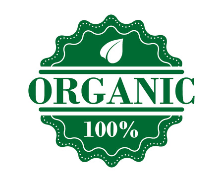 Bio organic label in green color for fresh health food or another ecology design Vector