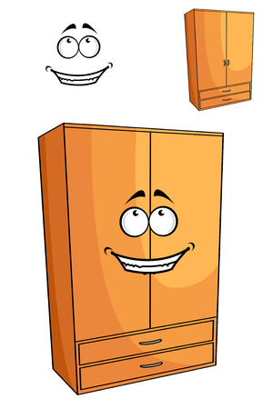 Cartoon wooden bedroom cupboard or wardrobe with a happy face standing at an angle isolated on white Vector