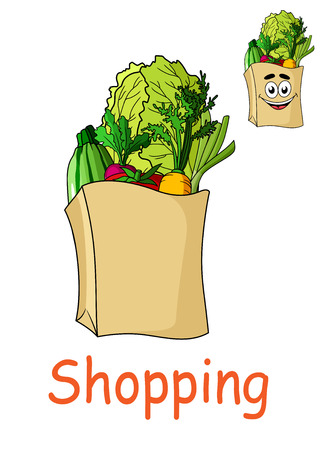 bag cartoon: Brown paper shopping bag filled with fresh groceries including fruit and vegetables in two variants, one with a smiling happy face and the word Shopping, cartoon  illustration Illustration