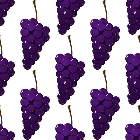 Seamless pattern of delicious ripe juicy bunches of purple grapes in a repeat motif in square format Vector