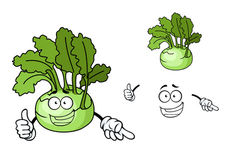 Fun cartoon kohlrabi with a laughing face and fresh green leaves, vector illustration isolated on white Vector