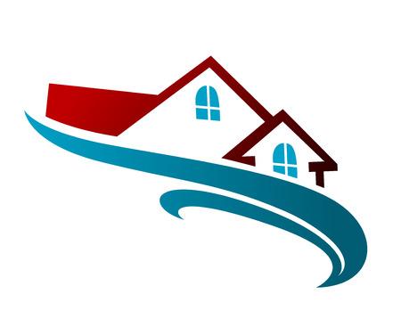 不動産の家の屋根と青い波とシンボル