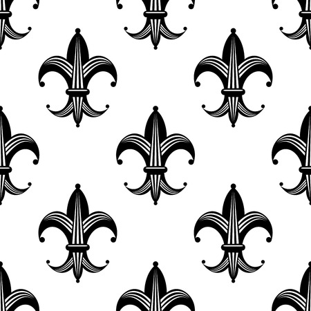lys: Seamless bold stylized fleur de lys pattern with a repeat black and white motif in square format for heraldry design
