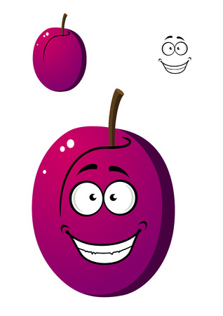 prune: Ripe purple plum fruit isolated on white background in cartoon style
