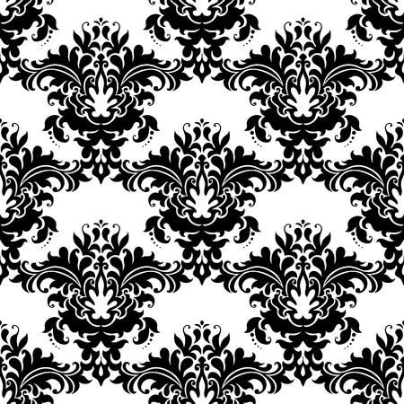 closely: Heavy ornate seamless arabesque pattern with closely packed large floral motifs in black and white suitable for damask style fabric