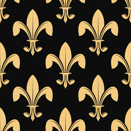 orleans: Seamless pattern of classical golden fleur de lys on black in a heraldic background suitable for wallpaper or fabric design Illustration