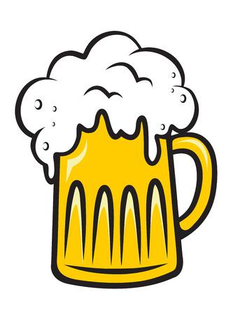 흰색에 고립 된 사랑스러운 황금 색상으로 거품 맥주 컵을 넘쳐