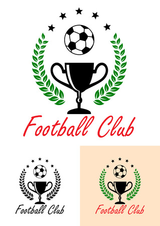 enclosing: Football Club Championship emblem or icon with a foliate wreath enclosing a trophy and football under an arc of five stars with the text at the foot of the design in three colors