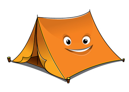 Cheerful cartoon orange tent with open front flaps and a smiling face on the side, vector illustration isolated on white