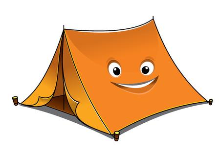 Vrolijke cartoon oranje tent met open voorzijde flappen en een lachend gezicht aan de kant, vector illustratie geïsoleerd op wit
