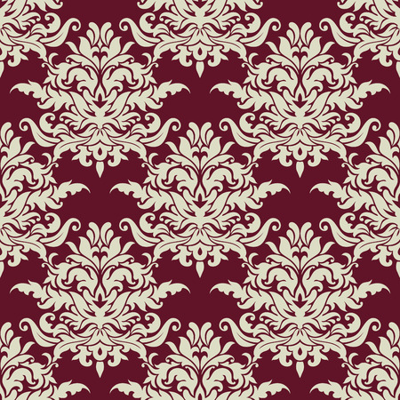 adornment: Busy seamless arabesque pattern with large floral motifs in a closely packed design suitable for textile or wallpaper design