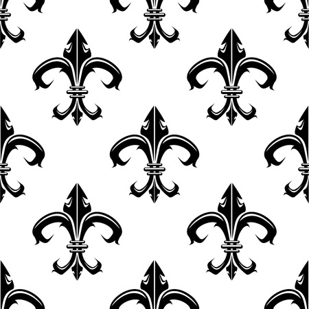 Classical French black and white fleur-de-lis seamless background pattern with a repeat motif in square format Vector