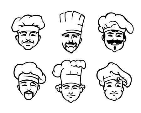 cartoon dinner: Set of six different black and white doodle sketch chef or cooks heads with smiling faces wearing the traditional white toque or hat