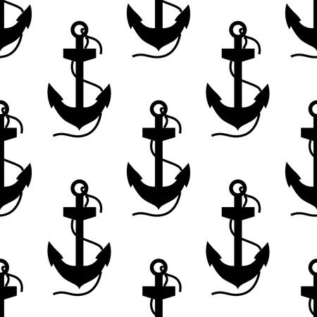 Seamless background black and white silhouette pattern of ships anchors with swirling ropes attached in square format Vector
