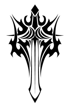 Black and white tribal illustration of an ornate winged sword with a stylized handle and sharp blade for tattoo design Illustration