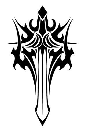 Zwart-wit tribale illustratie van een sierlijke gevleugelde zwaard met een gestileerde handvat en scherp mes voor tattoo ontwerpen