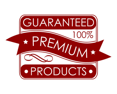 Guaranteed premium products label with text in a rectangular chamfered frame with a ribbon banner in red and white Illustration