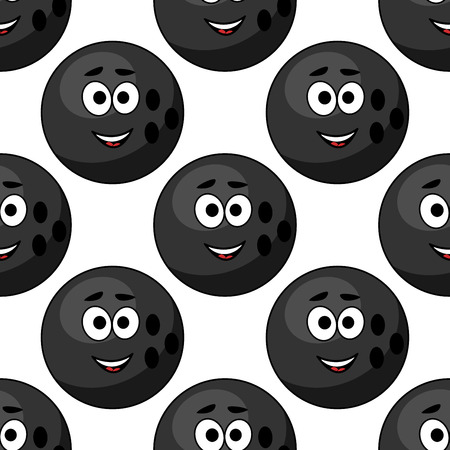 Seamless pattern of cartoon bowling balls with cute little faces in square format for sports design Vector