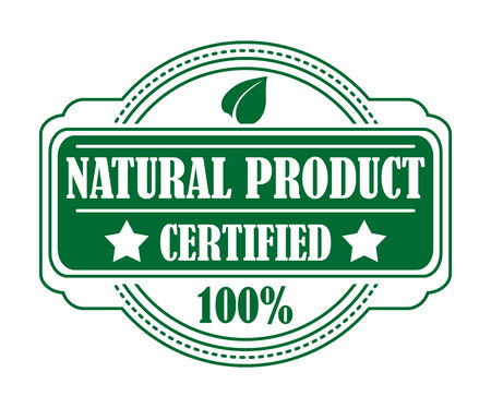 certifying: Guarantee label certifying a Natural Productin a circular green cartouche with the text - Natural Product Certified - and a 100 percent guarantee