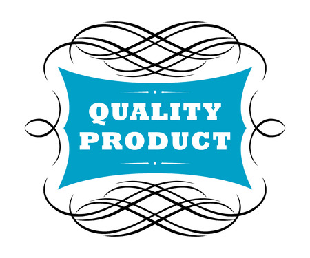 dainty: Quality product label with the text contained in a central blue cartouche surrounded by a dainty scrolling intertwined frame of thin black lines Illustration