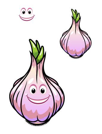 clous de girofle: Germination bulbe d'ail frais avec gousses, un visage de sourire heureux et grappe de petites pousses vertes au sommet isol� sur blanc