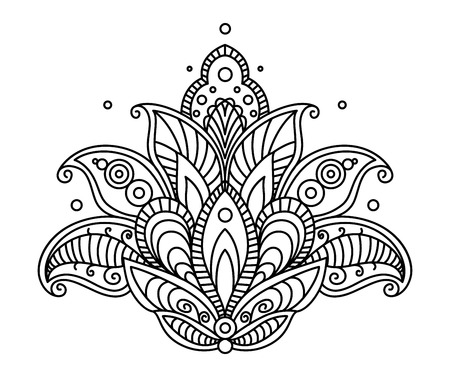 dainty: Pretty ornate paisley flower design element in a dainty black calligraphic line drawing