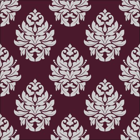 carmine: Vintage seamless con elementi floreali in grassetto nel carminio e nei colori bianco per il design tessile