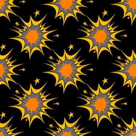 incendiary: Colorful seamless pattern of explosions or incendiary bursts on a black background in square format, vector design Illustration