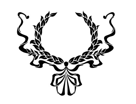 either: Foliate circular wreath with ornate swirling ribbons on either side in a symmetrical pattern for heraldry design Illustration