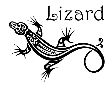 Stylized modern black and white calligraphic Lizard icon with a swirling tail and the text - Lizard - above Vector