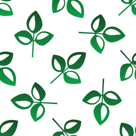 bicolor: Green leaves seamless pattern with bicolor green and white organic leaves scattered randomly on white in square format