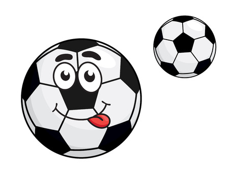 protruding: Cute black and white cartoon soccer ball with a protruding red tongue and bemused expression, with a second variant with no face, isolated on white background