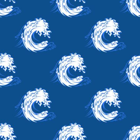 vague ocean: Seamless fond d'un blanc vague de curling de l'oc�an formant un tunnel sur un fond bleu, fond sur le th�me nautique Illustration