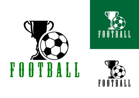 Championship football icon with a large trophy and pentagonal patterned football with the text - Football - below in three color variants Vector