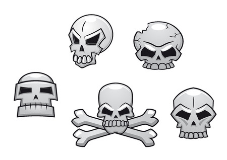 Halloween or Pirate themed skull set with a skull and crossbones and four additional skull designs Vector