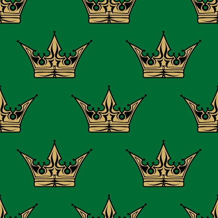 Gold crown on a green background in a seamless pattern themed for royalty or heraldry in square format suitable for wallpaper design Vector