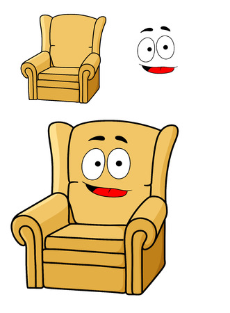 upholstered: Comfortable cartoon yellow upholstered armchair with a broad grin and red tongue, isolated on white Illustration