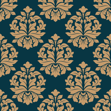 Bold heavy arabesque seamless pattern on blue with a repeat foliate motif in square format Vector