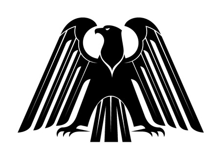 Proud black eagle silhouette for heraldry design with raised wings and spread wing and tail feathers, isolated on white Vector