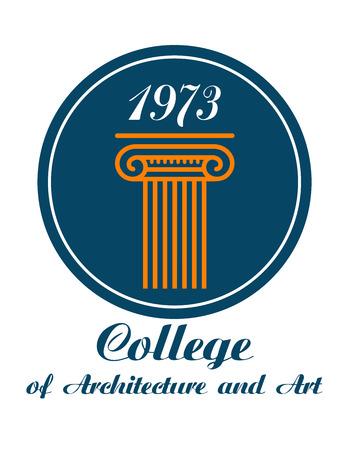 colonna romana: Facolt� di Architettura e Arte emblema con il testo sotto l'icona circolare che mostra una colonna greca o romana con un caoital e la data 1973