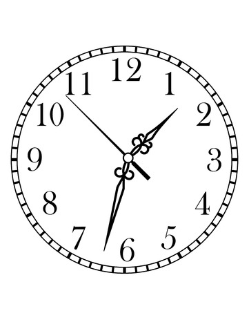 Dainty line drawing of a round dial clock face with Arabic numerals and hour, minute and second hands, isolated on white background Illustration
