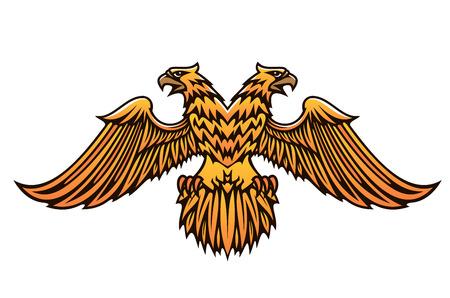 beaks: Doppia aquila imperiale d'oro con becchi feroci e le ali spiegate isolato su sfondo bianco Vettoriali