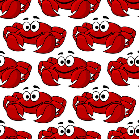 crabby: Seamless background pattern of a cute happy red crab with big pincers or claws in square format