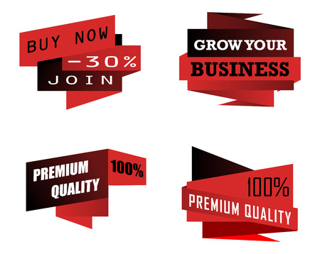 design objects: Set of origami business icons or labels depicting premium quality, grow your business and a , discount, in red and black on white
