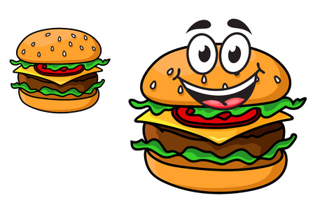 Cartoon cheeseburger with a laughing face with a beef patty, cheese, lettuce and tomato on a sesame bun, and a second version with no face, isolated on white Vector